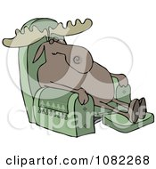 Clipart Moose Sleeping In A Recliner Chair Royalty Free Vector Illustration