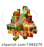 Clipart 3d Tower Of Gifts Royalty Free Vector Illustration