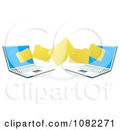 Clipart 3d Folders Transferring From One Laptop To The Other Royalty Free Vector Illustration by AtStockIllustration