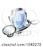 Clipart 3d Blue Cross Shield And Medical Stethoscope Royalty Free Vector Illustration