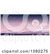 Clipart Full Moon In A Purple Sky Over A Winter Hilly Landscape Royalty Free Vector Illustration
