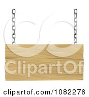 Clipart 3d Suspended Wooden Sign With Silver Chains Royalty Free Vector Illustration