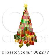 Clipart 3d Christmas Tree Gift Tower Royalty Free Vector Illustration