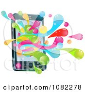 Clipart 3d Cell Phone With Colorful Splashes Royalty Free Vector Illustration by AtStockIllustration