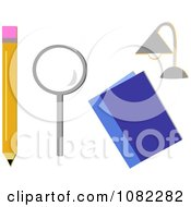 School Pencil Magnifying Glass Book And Desk Lamp