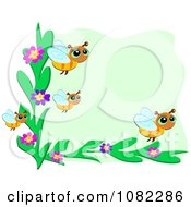 Clipart Corner Bee And Flower Frame Over Green Royalty Free Vector Illustration by bpearth