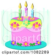 Clipart Pink Birthday Cake With Candles And Floral Elements On Blue Stripes Royalty Free Vector Illustration by bpearth
