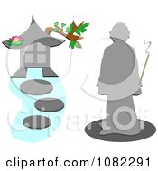 Clipart Monk By A Pagoda With Stepping Stones Royalty Free Vector Illustration by bpearth