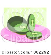 Clipart Sliced Kiwi On A Plate Over Green Waves Royalty Free Vector Illustration by bpearth
