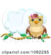 Clipart Perched Owl And Cloud With Copyspace Royalty Free Vector Illustration by bpearth