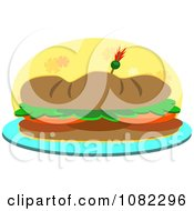 Clipart Sub Sandwich Over A Yellow Floral Oval Royalty Free Vector Illustration