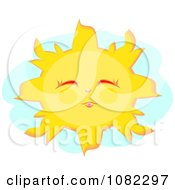 Clipart Happy Sun With Closed Eyes Royalty Free Vector Illustration by bpearth