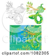 Clipart Outlined And Green Snakes In Trees Royalty Free Illustration
