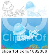 Clipart Outlined And Blue Jellyfish Royalty Free Illustration by Alex Bannykh