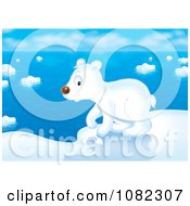 Clipart Arctic Polar Bear Cub Walking On Ice Royalty Free Illustration by Alex Bannykh
