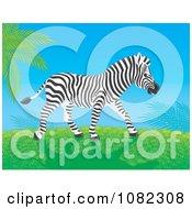 Clipart Zebra Walking On A Grassy Hill Royalty Free Illustration by Alex Bannykh