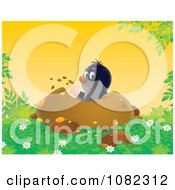 Clipart Gopher Digging Out A Den Royalty Free Illustration