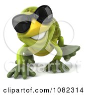 Clipart 3d Chuck Tortoise Crawling And Wearing Sunglasses 1 Royalty Free CGI Illustration