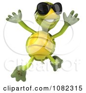Clipart 3d Chuck Tortoise Wearing Sunglasses And Jumping Royalty Free CGI Illustration