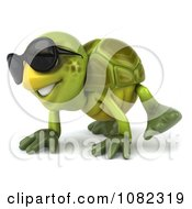 Clipart 3d Chuck Tortoise Crawling And Wearing Sunglasses 2 Royalty Free CGI Illustration