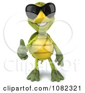 Clipart 3d Chuck Tortoise Wearing Sunglasses And Holding A Thumb Up 1 Royalty Free CGI Illustration
