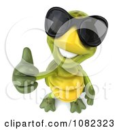 Clipart 3d Chuck Tortoise Wearing Sunglasses And Holding A Thumb Up 3 Royalty Free CGI Illustration
