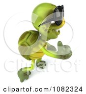 Clipart 3d Chuck Tortoise Wearing Sunglasses And Holding A Thumb Up 4 Royalty Free CGI Illustration