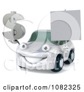 Clipart 3d White Car Holding A Sign And Dollar Symbol Royalty Free CGI Illustration