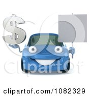 Clipart 3d Blue Car Holding A Sign And Dollar Symbol Royalty Free CGI Illustration