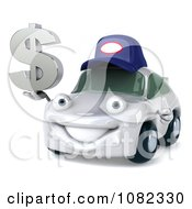 Clipart 3d White Mechanic Car Holding A Dollar Symbol Royalty Free CGI Illustration