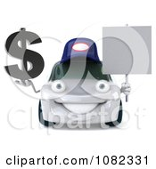 Clipart 3d White Mechanic Car Holding A Sign And Dollar Symbol Royalty Free CGI Illustration