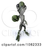 Clipart 3d Green Alien Pointing Outwards 2 Royalty Free CGI Illustration