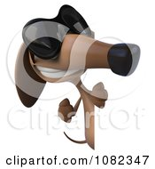 Clipart 3d Pookie Wiener Dog Wearing Shades And Holding A Sign 3 Royalty Free CGI Illustration