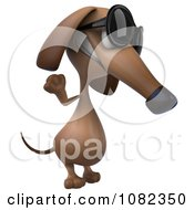 Clipart 3d Pookie Wiener Dog Wearing Shades And Waving 2 Royalty Free CGI Illustration