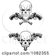 Clipart Black And White Skulls With Revolvers Royalty Free Vector Illustration
