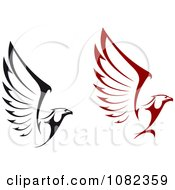 Clipart Black And Red Flying Eagles Royalty Free Vector Illustration