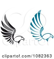 Clipart Black And Blue Flying Eagles Royalty Free Vector Illustration