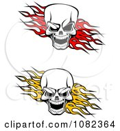 Clipart Evil Skulls Over Red And Yellow Flames Royalty Free Vector Illustration