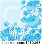 Clipart Floral Background With Blue Flowers Royalty Free Vector Illustration