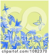 Clipart Floral Background With Blue Flowers And Butterflies On Green Royalty Free Vector Illustration