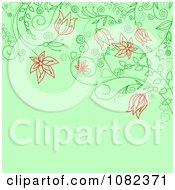 Clipart Floral Background With Red Flowers On Green Royalty Free Vector Illustration