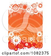 Clipart Grungy Orange Retro Floral Background With White Daisies And Circles Royalty Free Vector Illustration by Vector Tradition SM