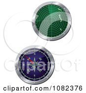 Clipart Green And Blue 3d Radar Screens Royalty Free Vector Illustration
