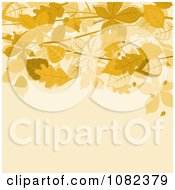 Clipart Beige Autumn Background With Brown Leaves Above Copyspace Royalty Free Vector Illustration by Vector Tradition SM