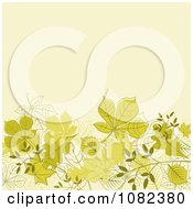 Clipart Beige Autumn Background With Green Leaves Below Copyspace Royalty Free Vector Illustration by Vector Tradition SM
