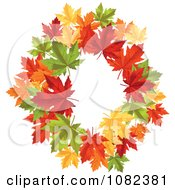 Clipart Wreath Made Of Colorful Autumn Maple Leaves Royalty Free Vector Illustration