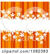 Clipart Bar Of White Leaves Over Orange Autumn Stripes Royalty Free Vector Illustration by Vector Tradition SM