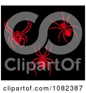 Clipart Red Ticks Or Spiders On Black Royalty Free Vector Illustration