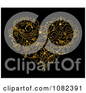 Clipart Golden Floral Vine Heart On Black Royalty Free Vector Illustration