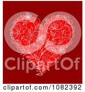 Clipart Red Floral Heart On Deep Red Royalty Free Vector Illustration